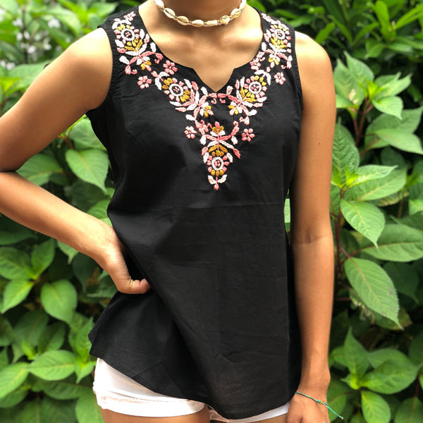 100% Cotton Black & Pale Pink  Embroidered Tunic~Top