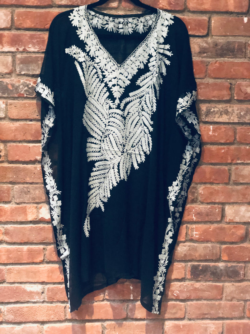 KC.09 Black Gray Embroidered Sheer Chiffon Kaftan / Cover up Midi