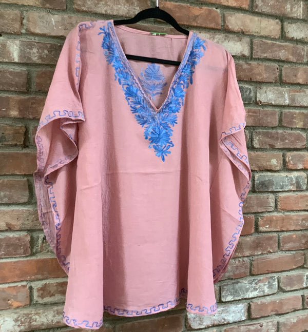KS.09 ROSE PINK / BLUE Crushed Cotton Embroidered Kaftan Top / Cover up; Band size (40)