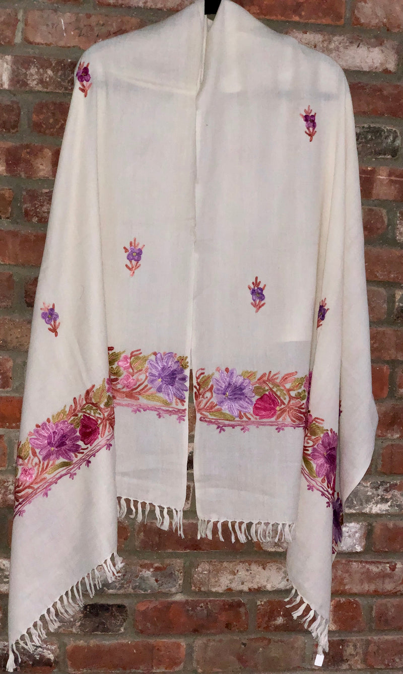 Off-White Floral Embroidered Medium Weight Warm Stole~Wrap~Shawl