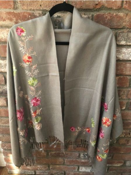SP.06 Ash Gray Semi Pashmina Embroidered Stole