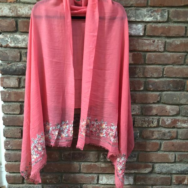 Coral Peach Light Weight Cotton Viscose Embroidered Stole