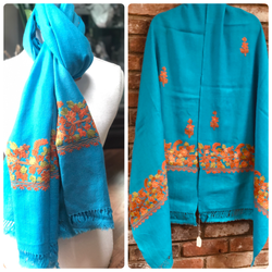 Turquoise Floral Embroidered Medium Weight Warm Stole~Wrap~Shawl