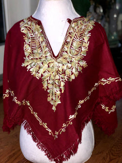 Burgundy Warm Embroidered Poncho (P1.08)