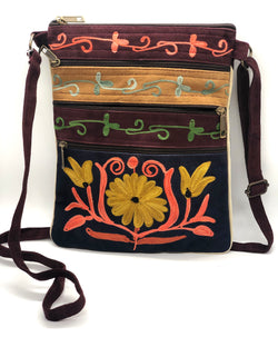 5 Zip Crossbody Embroidered Travel/ Casual Handbag  10 x 8 (H4)