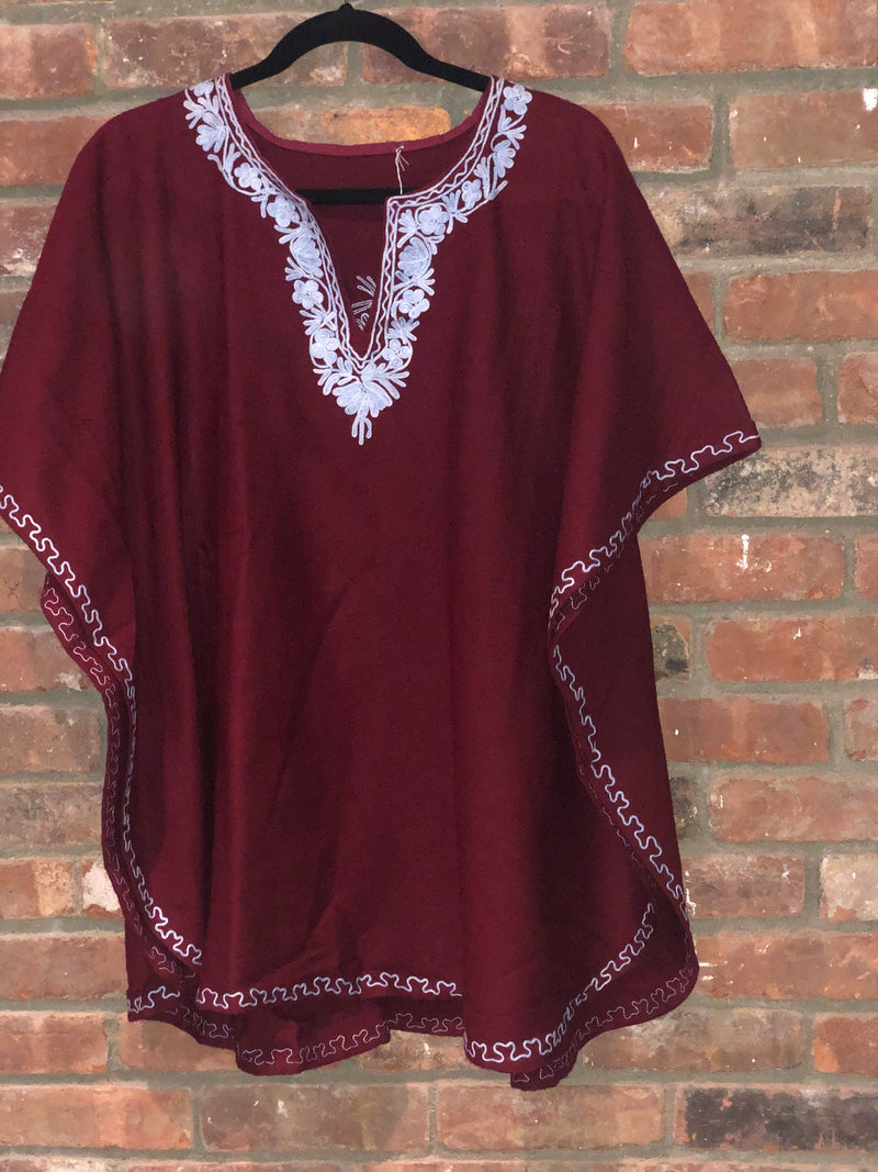 KA.04 MAROON RED / LIGHT BLUE  Warm Thick Cashmilon Acrylic Embroidered Short Kaftan One Size