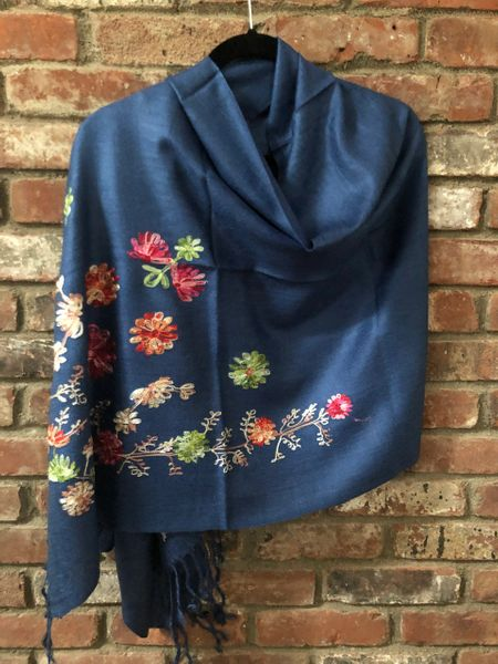 SP.07 Teal Embroidered Romantic Semi-Pashmina Stole