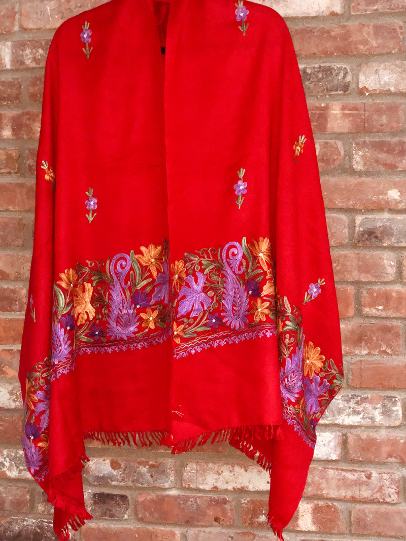 Red Floral Embroidered Medium Weight Warm Stole~Wrap~Shawl