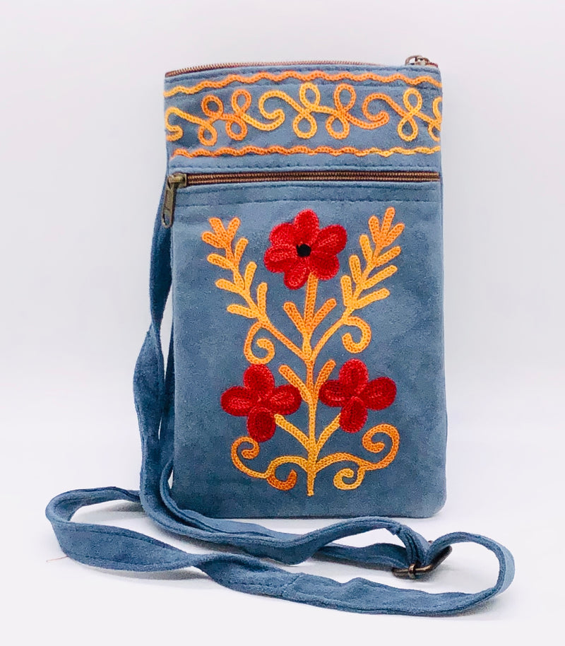 2 Zip Embroidered Suede Mobile/Cellphone Crossbody Bag (3MCB-H50)