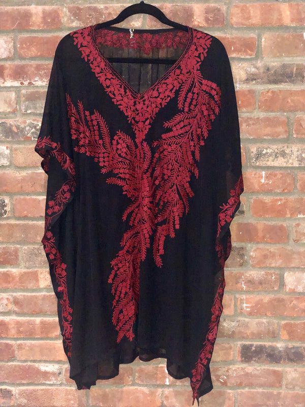 KC.10 Black Reddish Brown Fern Embroidered Sheer Chiffon Kaftan / Cover up Midi
