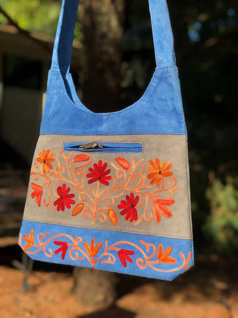 Shikara Suede Floral Embroidered Crossbody Bag (H35)