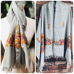 Gray Floral Embroidered Medium Weight Warm Stole~Wrap~Shawl