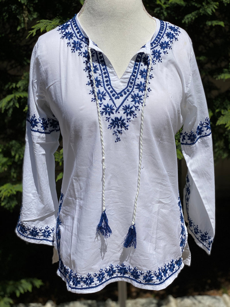Bohemian 100% Cotton Embroidered Bell Sleeve Hippie Boho Tunic~Blouse~Top (SEV.W)