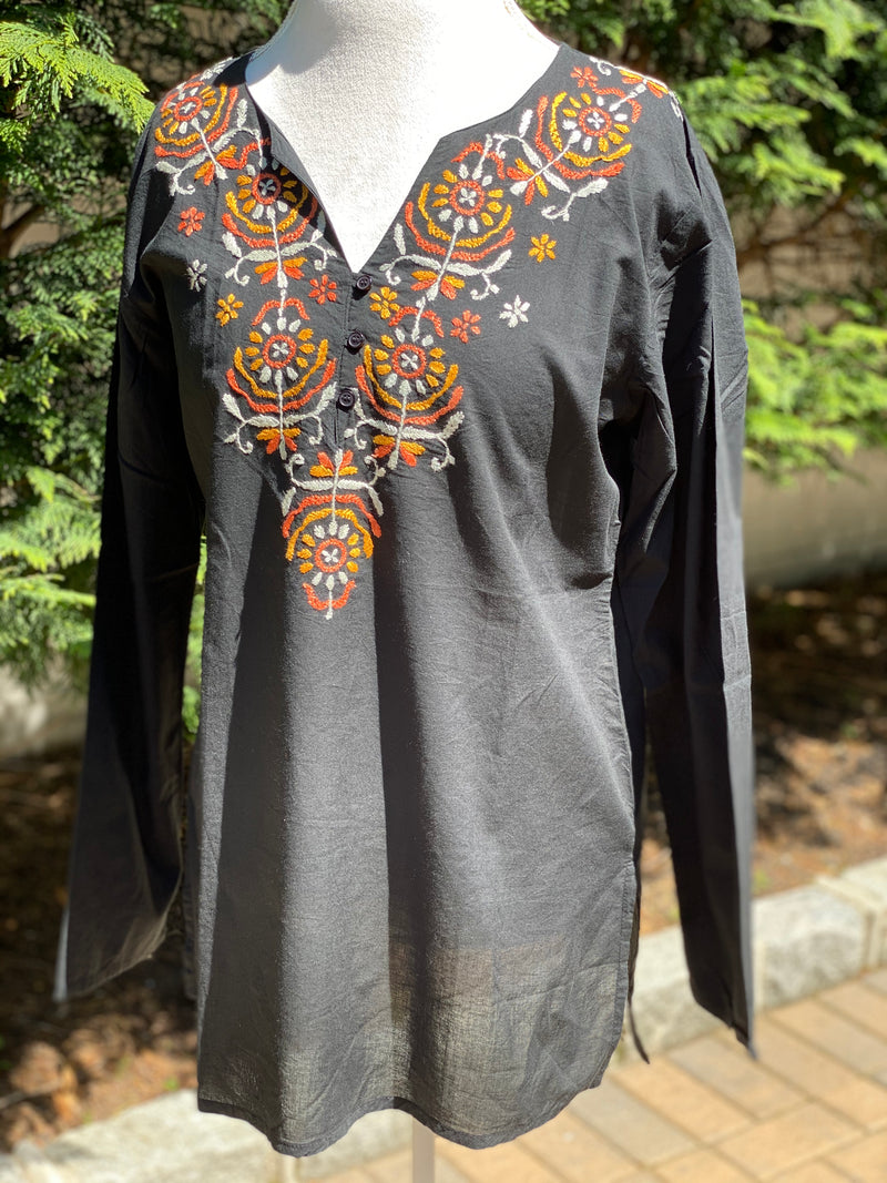 Boho Chic 100% Cotton Split V-Neck Buttoned Full Sleeve Tunic~Top~Blouse/ Cover up- US Size L & XL (Regular/Tall) (T28.12)