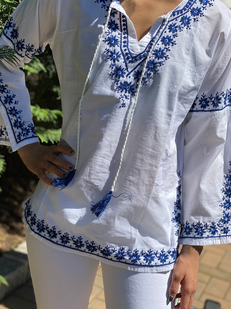 100% Cotton Lightweight & Breathable Embroidered Bell Sleeve Bohemian Tunic~Blouse~Top (SEV.W)