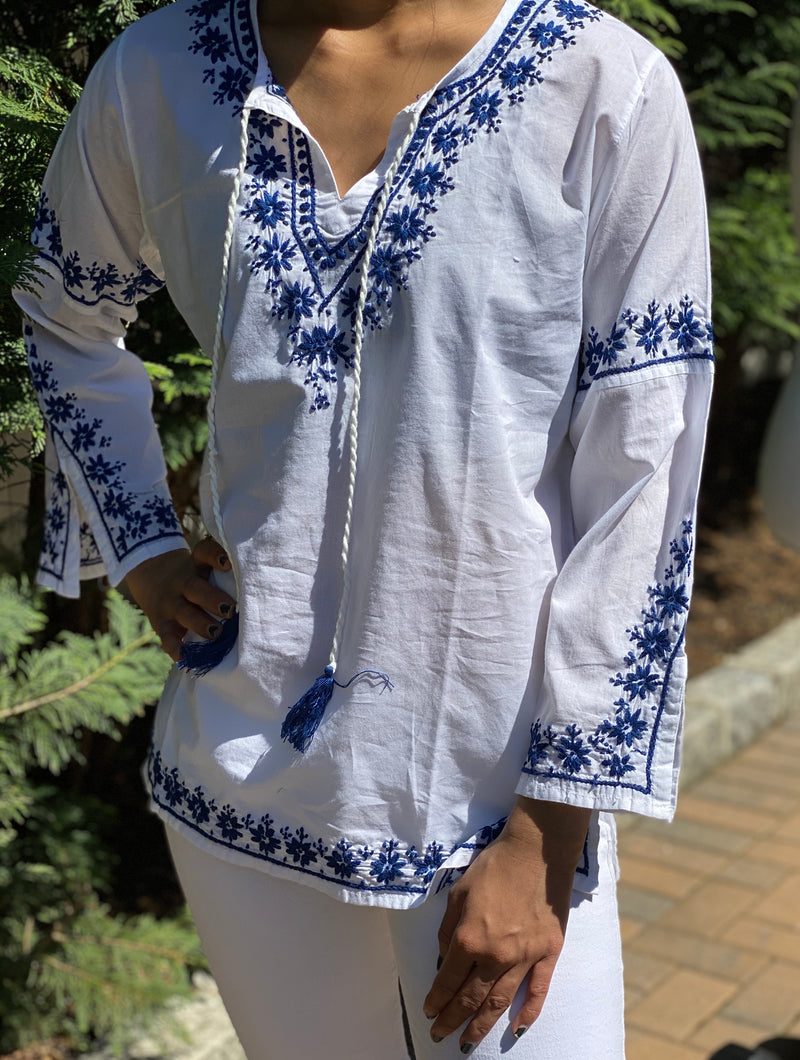 100% Cotton White Blue Bell Sleeve with Tassle Lightweight & Breathable Bohemian Embroidered Tunic Top by kashmir Valley kashmirvalley.com