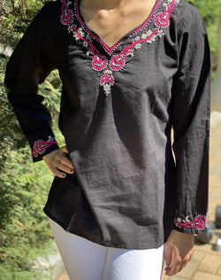 100% Cotton Black Magenta  Lightweight & Breathable Bohemian Embroidered Tunic Top by kashmir Valley kashmirvalley.com