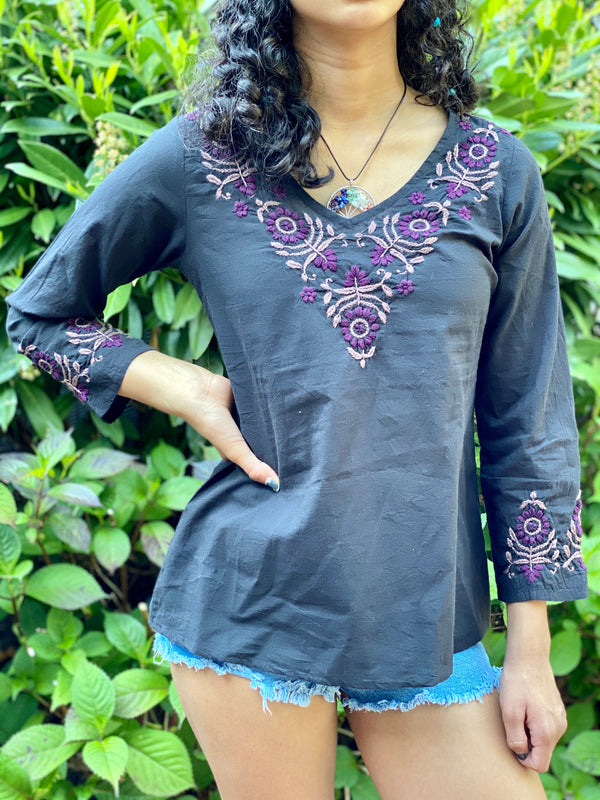 100% Cotton Black Purple  Lightweight & Breathable Bohemian Embroidered Tunic Top by kashmir Valley kashmirvalley.com