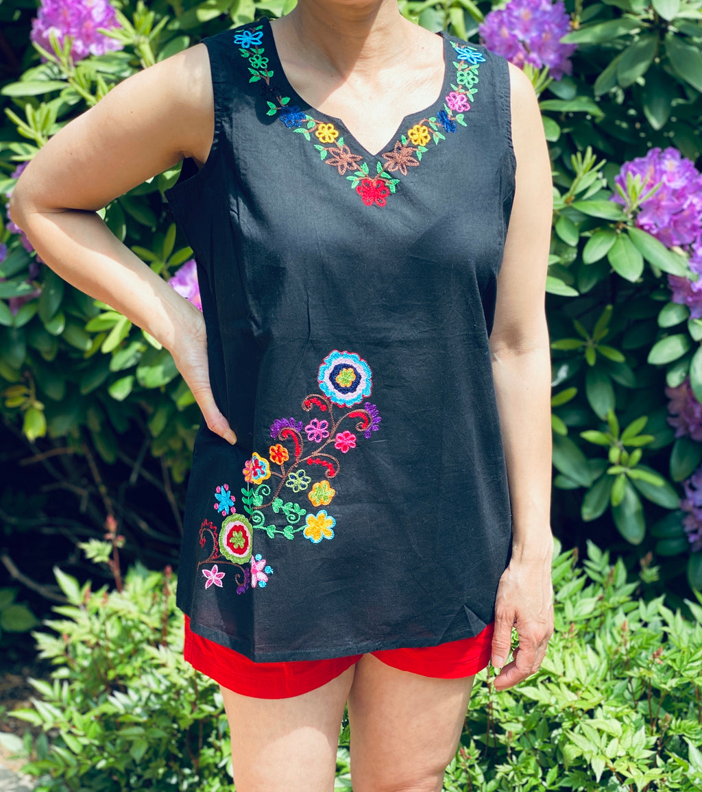 Bohemian & Boho Hippie Chic 100% Cotton Black Sleeveless Lightweight & Breathable Embroidered Tunic Top by kashmirvalley.com Kashmir Valley