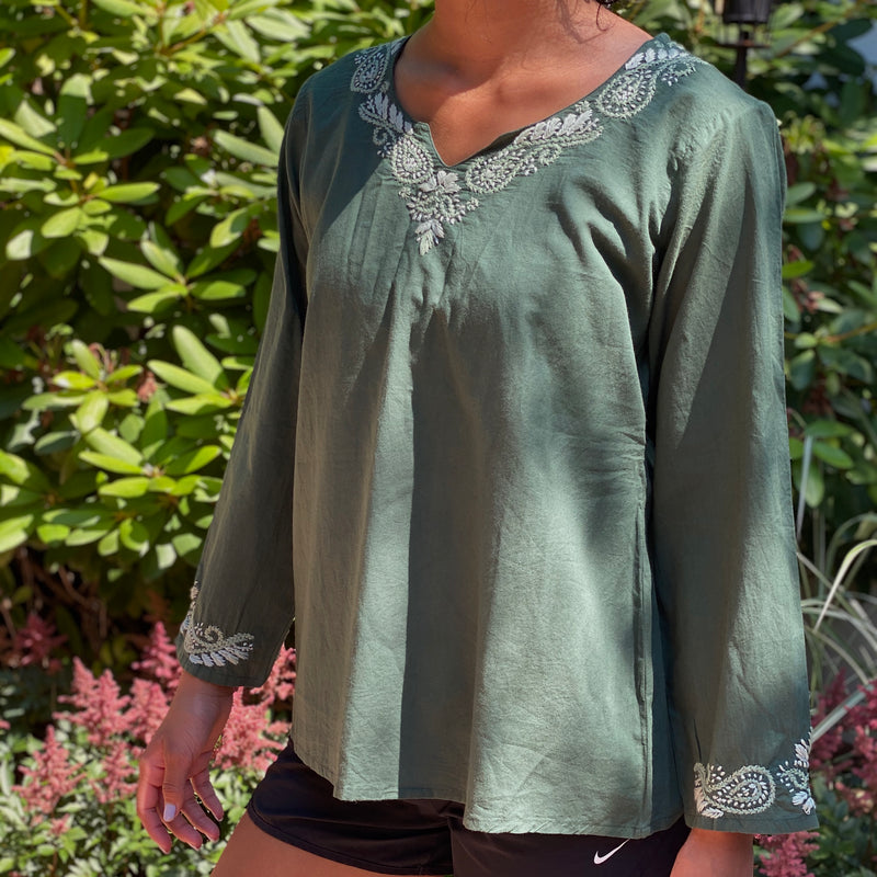 100% Cotton Hunter Green Embroidered Breathable Cotton Tunic~Top~Blouse