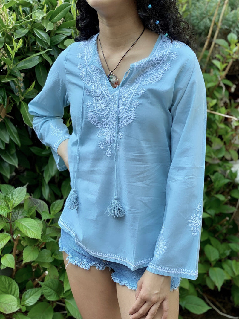 Petite 100% Cotton Powder Blue Embroidered Tunic, Blouse, Top with Tassel Top (SEV.B)