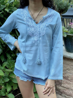 100% Cotton light blue Bohemian Embroidered Tunic Top by kashmir Valley kashmirvalley.com