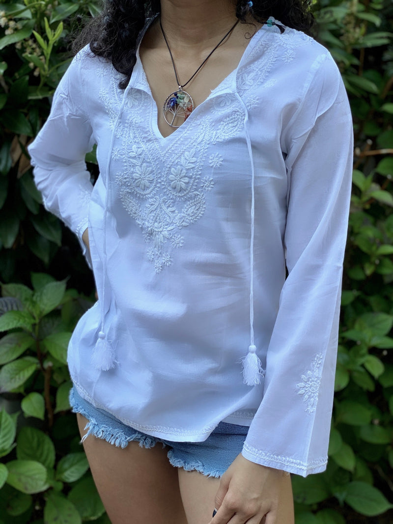 Petite White 100% Cotton White Bohemian Embroidered Tunic~Blouse~Top with Tassel Top (SEV.W)