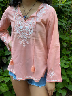 100% Cotton Bohemian Embroidered Tunic Top by kashmir Valley kashmirvalley.com