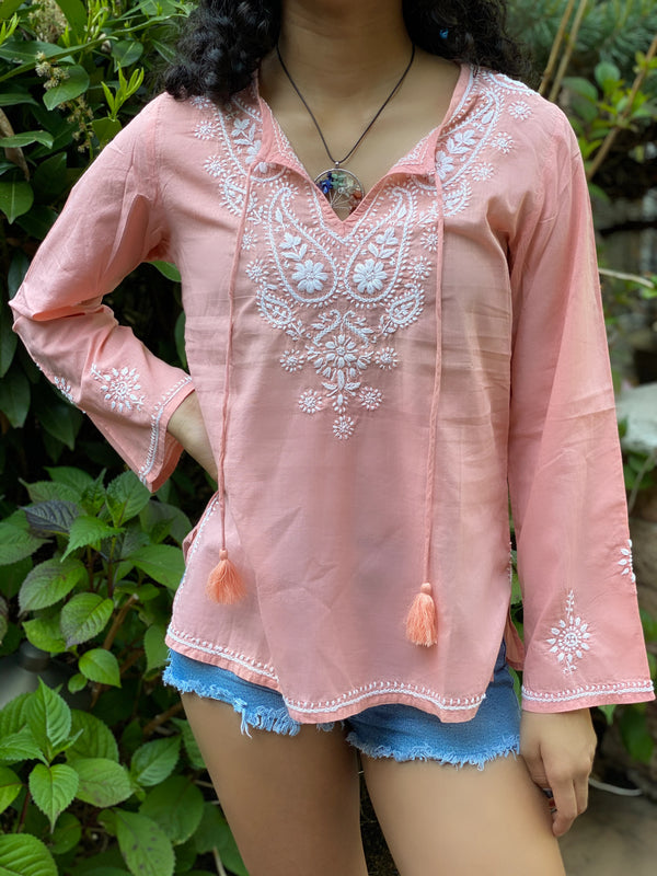 Petite 100% Lightweight & Breathable Cotton Embroidered Tunic~Top~Blouse in Coral Peach (SEV.C)