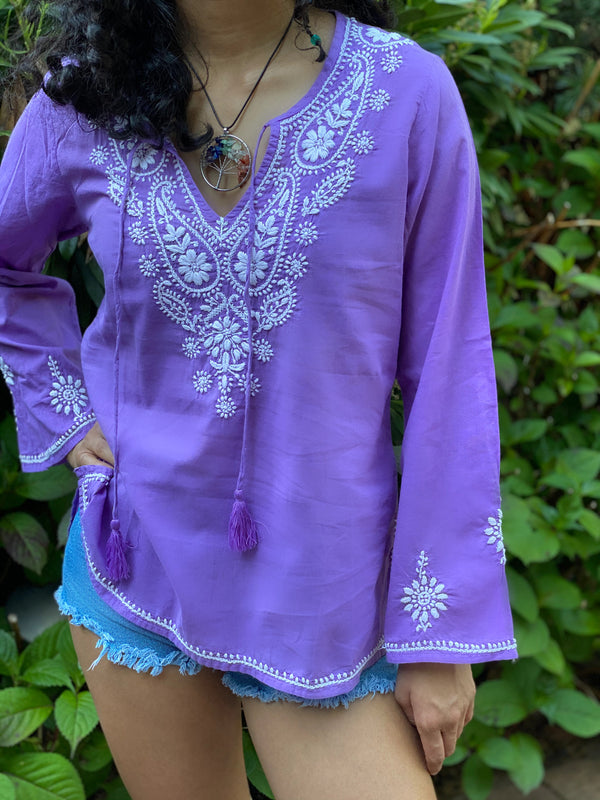 Petite Lavender-100% Cotton Top~Blouse~Tunic with Tassel Sizes SP-LP (SEV.P)