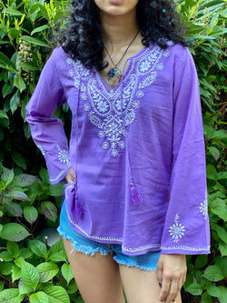 100% Cotton Lightweight & Breathable Embroidered BohemianTunic Top by kashmirvalley.com Kashmir Valley