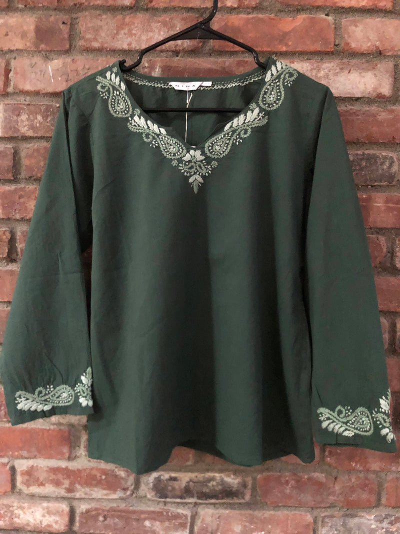 Green Pure Cotton Embroidered Tunic Top Kurti Blouse by Kashmirvalley Kashmir Valley