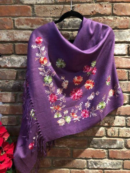 SP.14 Purple Romantic Semi-Pashmina Floral Embroidered Stole