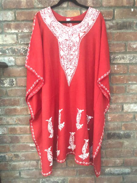 KM.35 Red Crushed Cotton Embroidered Mid Length Kaftan