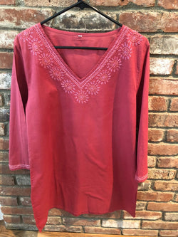 Rose Tunic Top With Rose Pink Embroidery (PAT 4)