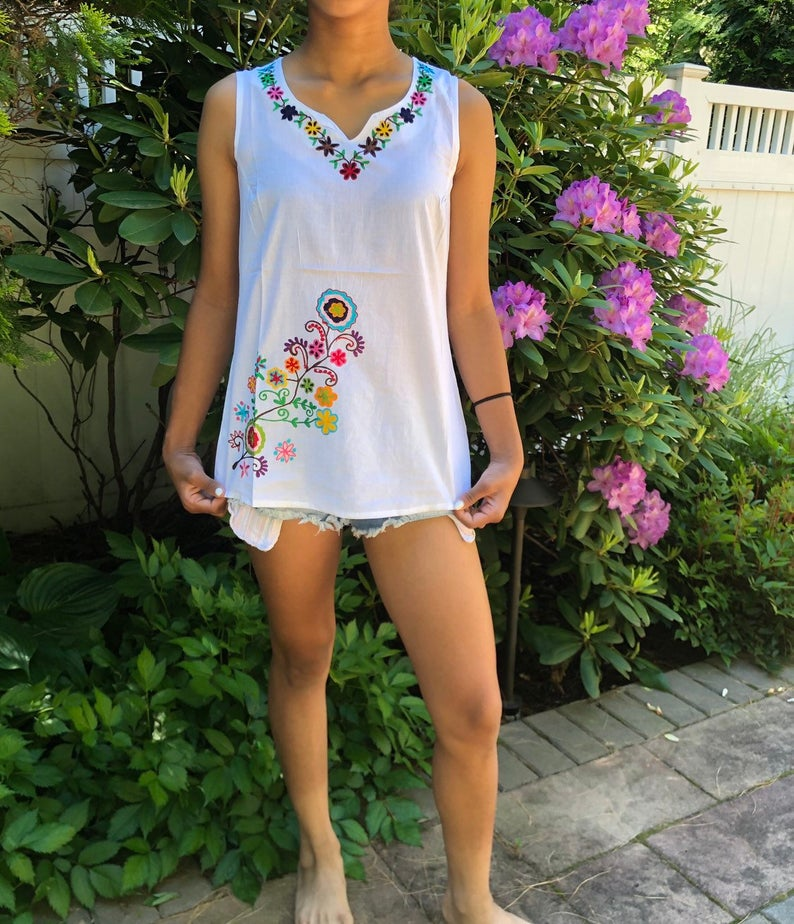 100% Cotton White Multicolor Floral  Bohemian Embroidered Tunic~Top~Blouse