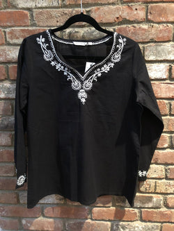 Black Top With White Embroidery (PAT 2)