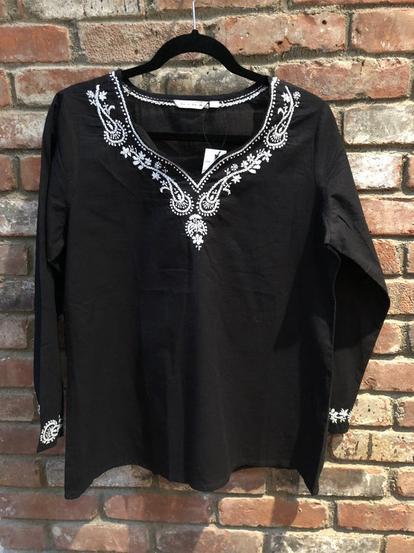 100% Cotton  Embroidered Tunic  embroidered top  embroidered  cotton top  cotton  boho chic  Bohemian  black cotton top