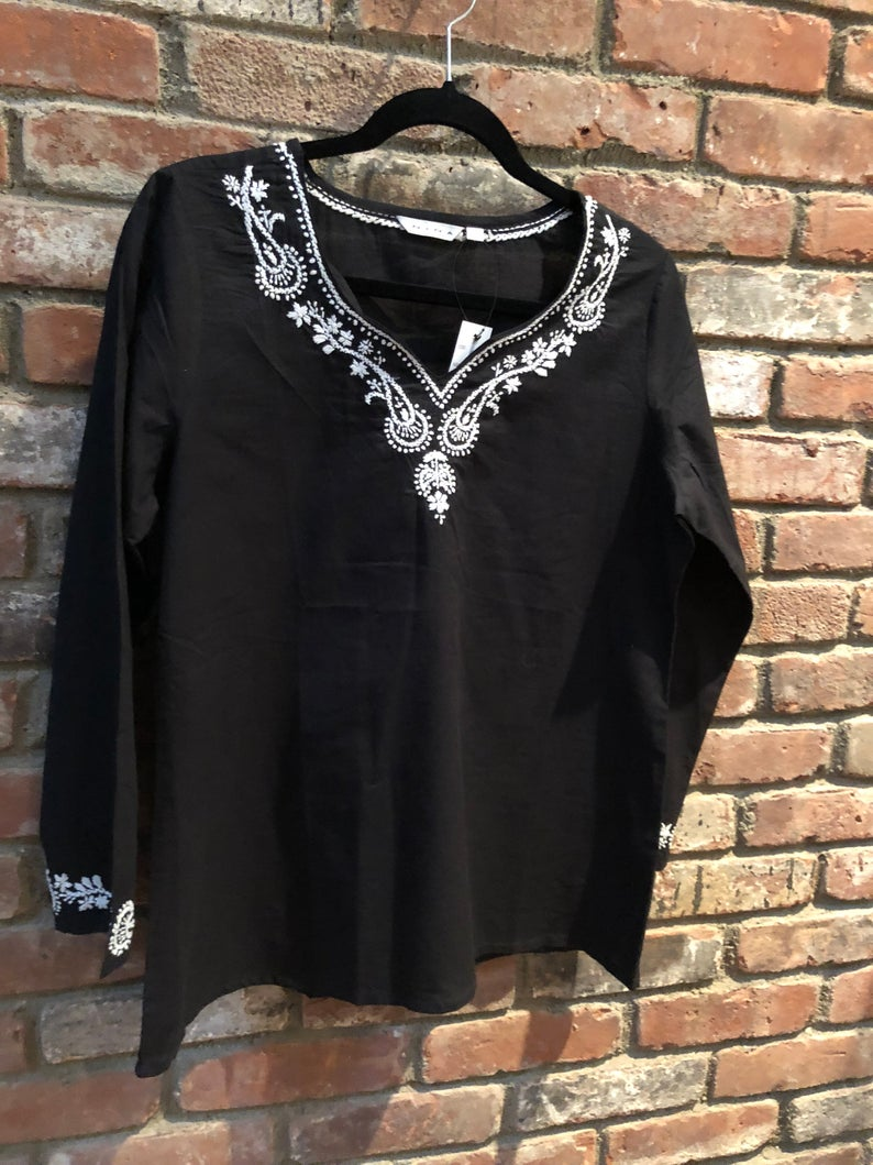 100% Cotton Black Top With White Embroidery (PAT 2)(T75)