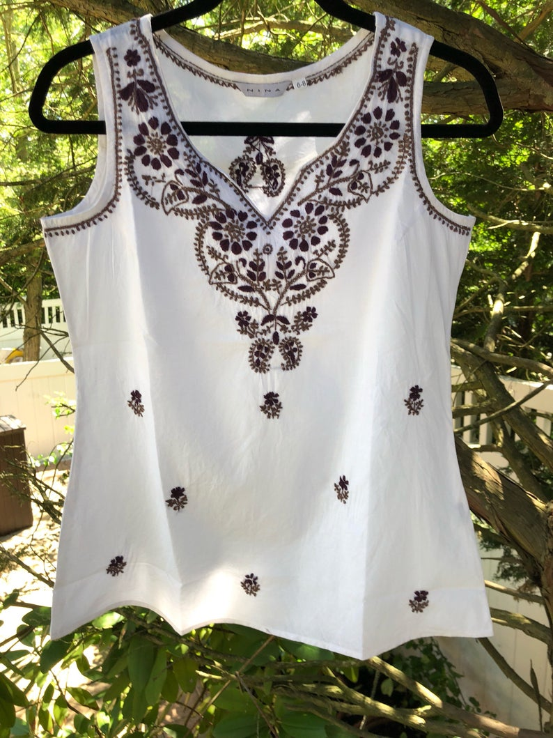White Top With Dark Brown Embroidery