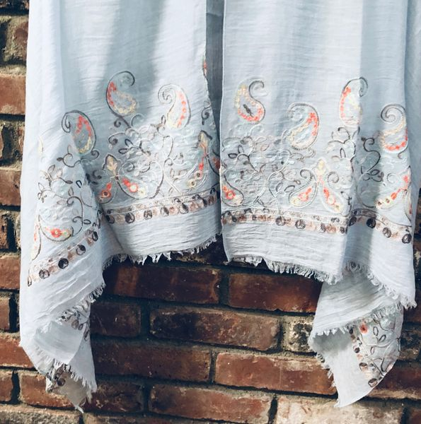 Whisper Blue Light Weight Cotton Viscose Embroidered Stole