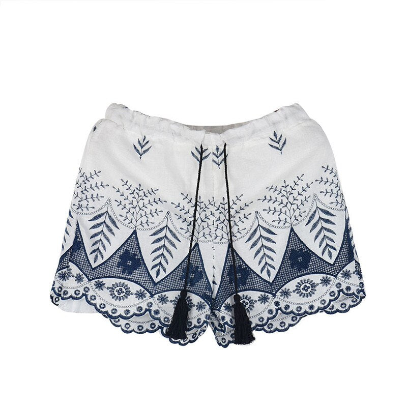 Summer Wear Shorts Fashion Women Lace and Embroidery Cotton Mid Waist Shorts