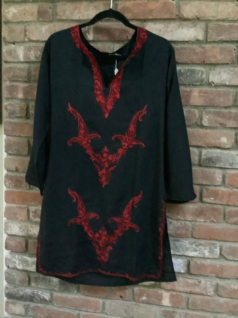 Lizzy Bizzy Cotton Blend Black & Red Midi Tunic Dress -Size M