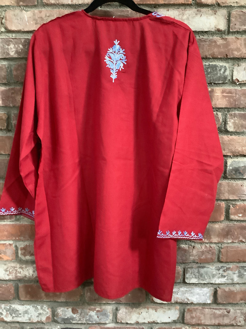 Lizzy Bizzy Red  & Blue Buti Embroidered Long Tunic Top 5XL (20-22) or 52