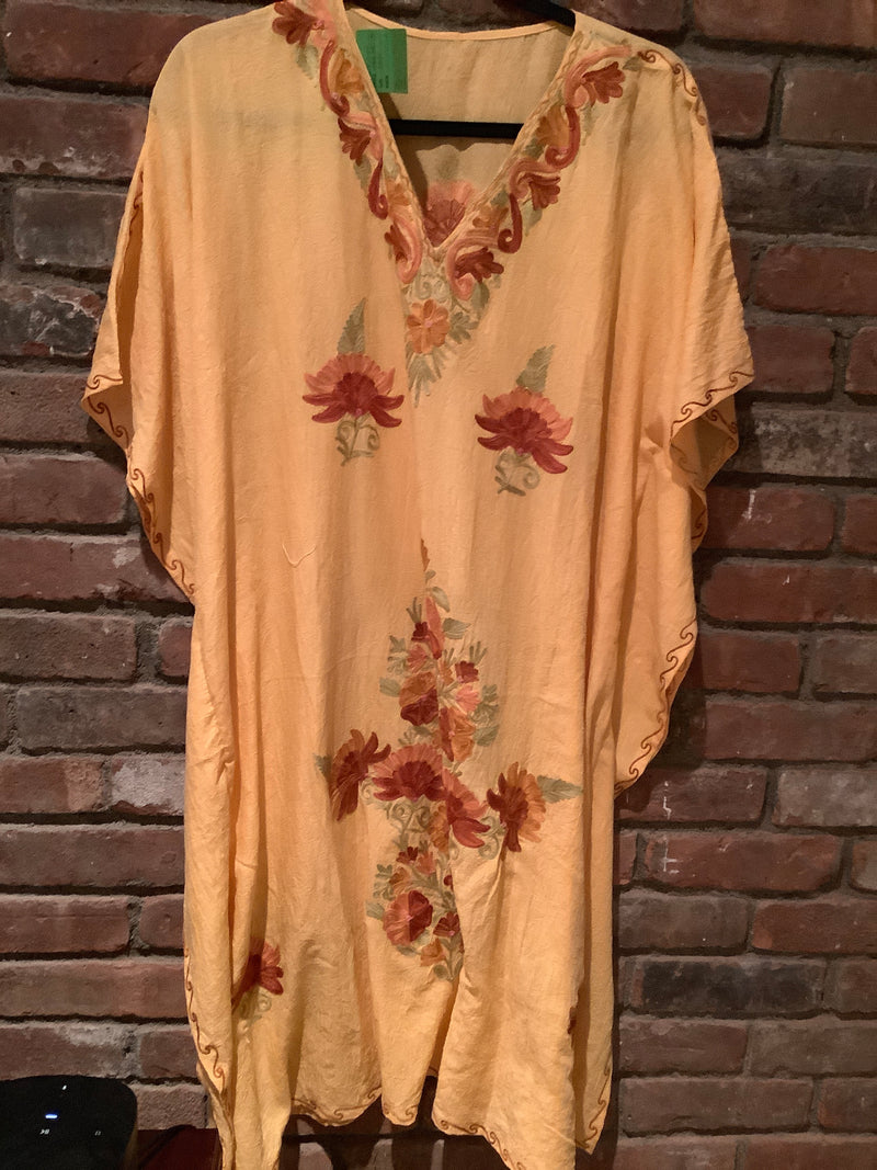KM.36  Mustard Multi Crushed Cotton Embroidered Mid Length Kaftan