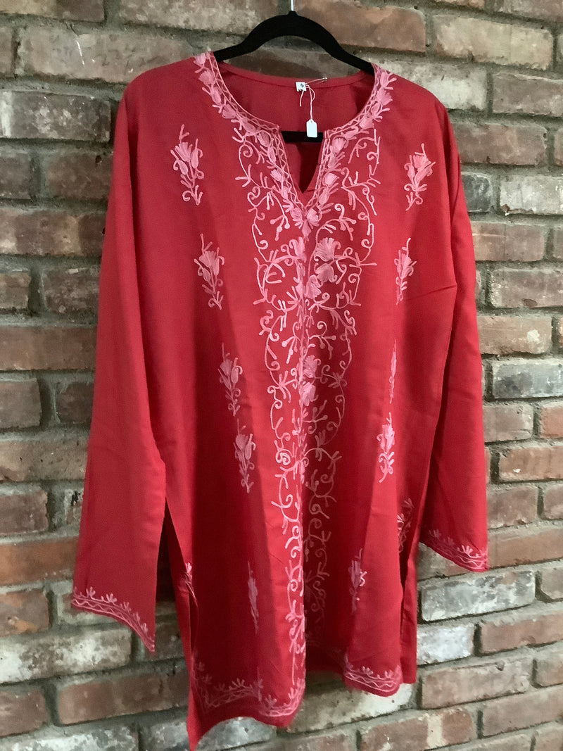 Lizzy Bizzy Red & Pink Embroidered Long Tunic Top 3XL (16-18) or 48