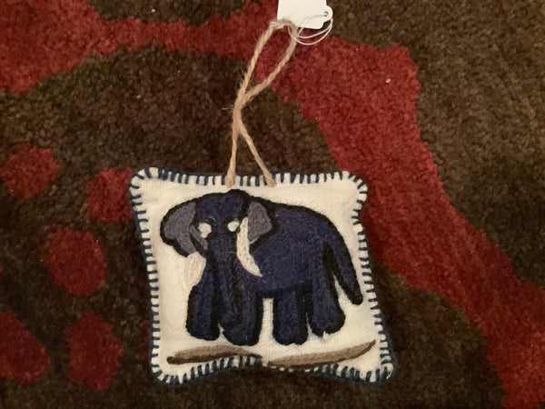 Handmade Elephant Embroidered Hanging Ornament