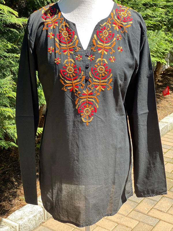 Boho Chic 100% Cotton Split V-Neck Buttoned Full Sleeve Tunic~Top~Blouse/ Cover up- US Size L & XL (Regular/Tall)