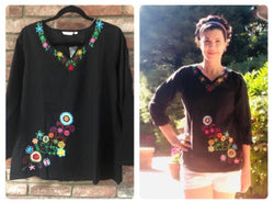 Boho Style Black Top with Tilee Embroidered (T10)