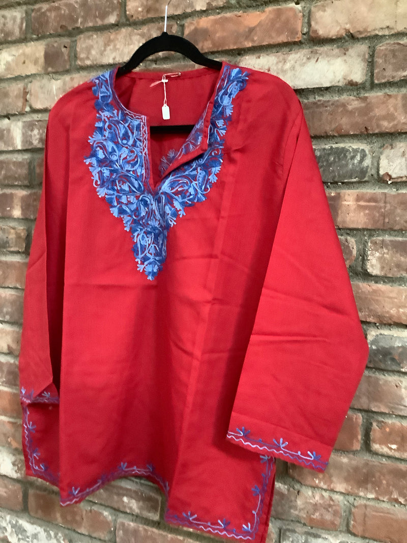Lizzy Bizzy Red & Blue Neck Embroidered Top Sizes XXS-5XL